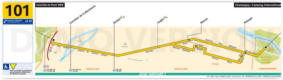 Plan bus Ligne 101