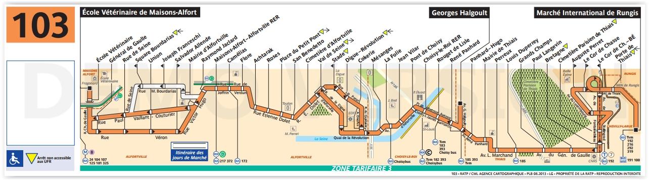 Plan bus Ligne 103