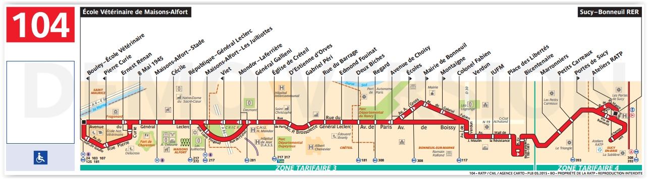 Plan bus Ligne 104