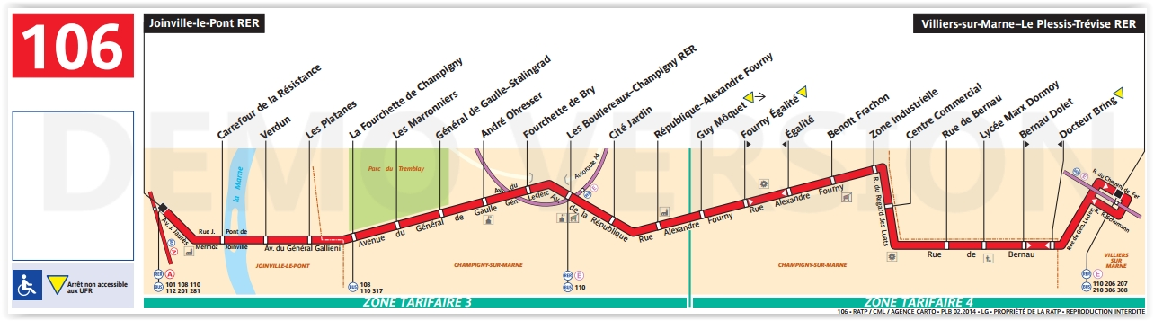 Plan bus Ligne 106