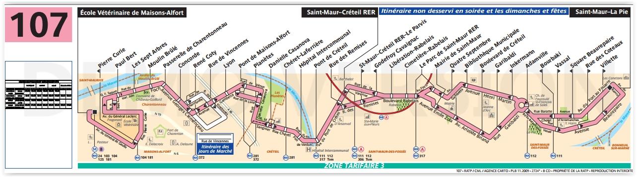 Plan bus Ligne 107