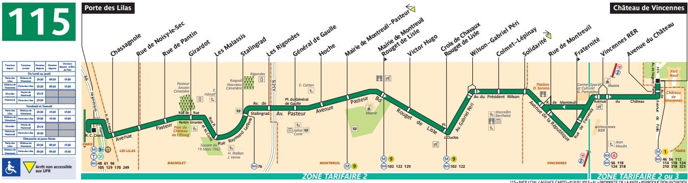 Plan bus Ligne 115