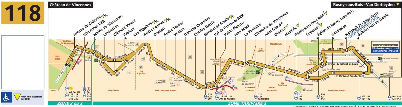 Plan bus Ligne 118