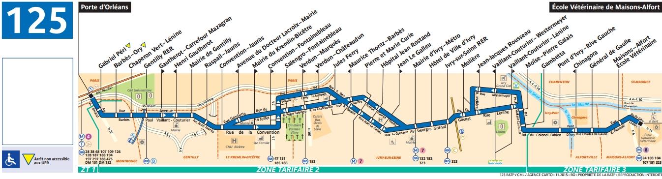 Bus 125 horaires et plan ligne 125 paris for Direct des plans de la maison des concepteurs
