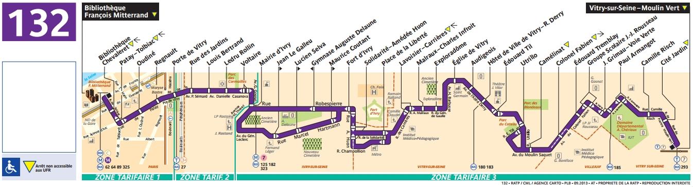 Plan bus Ligne 132