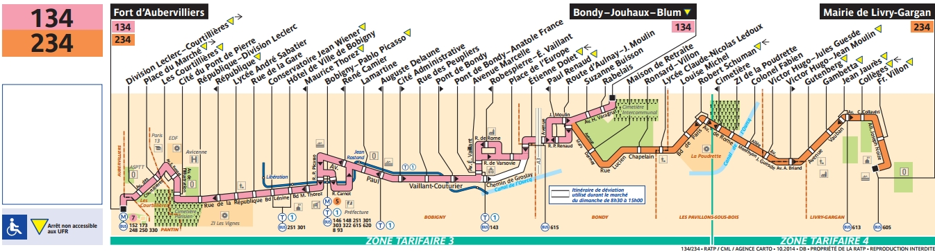 Plan bus Ligne 134