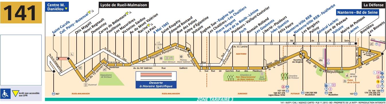 Bus 141 horaires et plan ligne 141 paris - Horaire castorama la defense ...