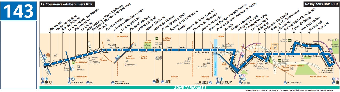 Plan bus Ligne 143