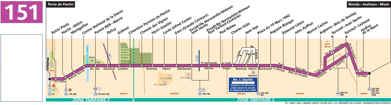 Plan bus Ligne 151