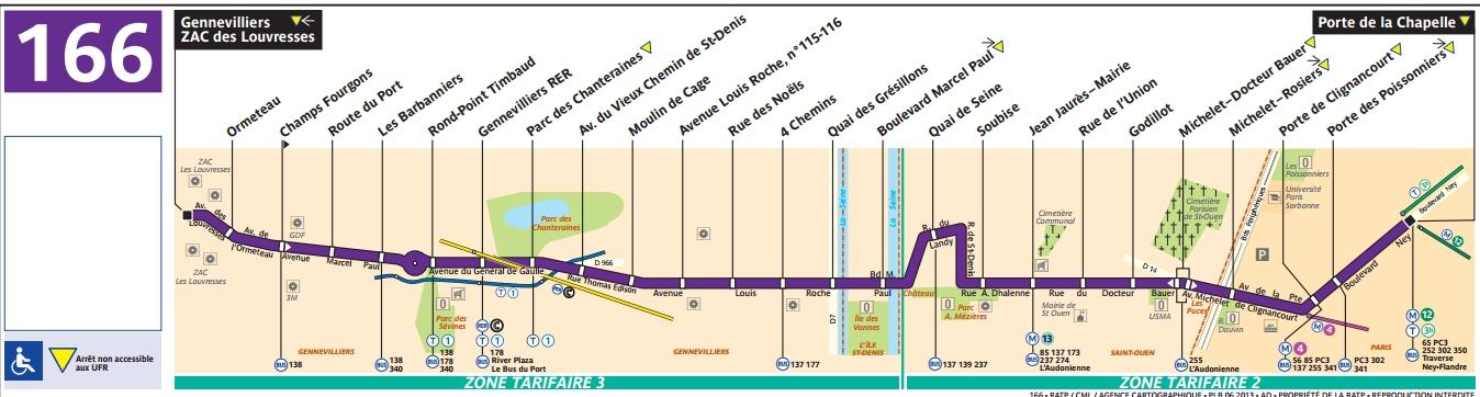 Plan bus Ligne 166