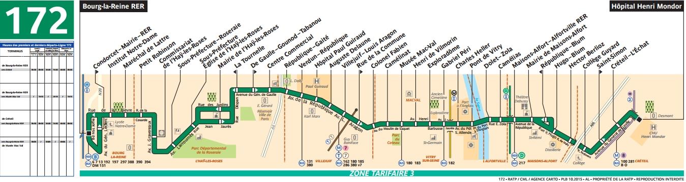 Plan bus Ligne 172