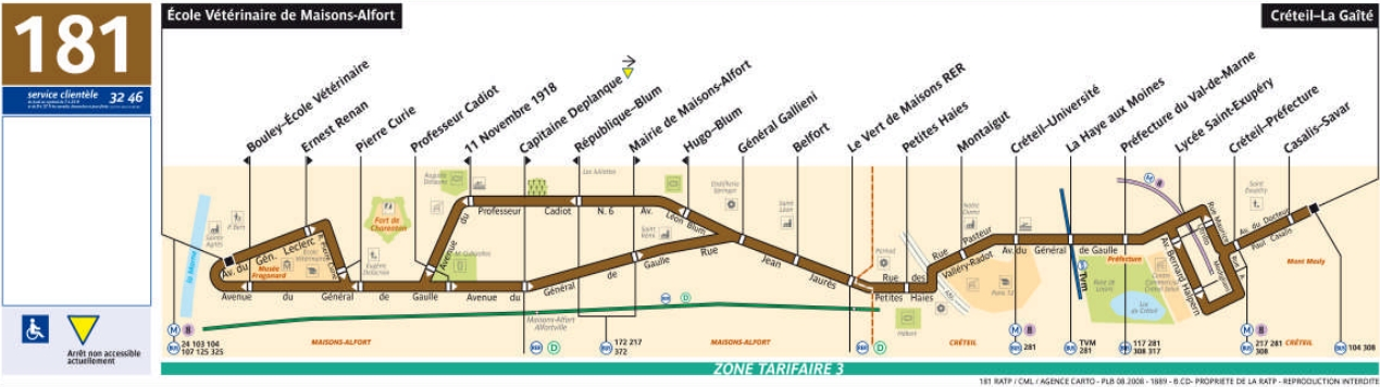 Plan bus Ligne 181