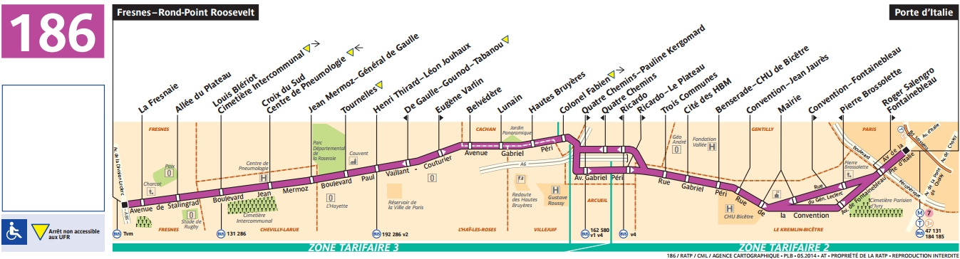 Bus 186 horaires et plan ligne 186 paris - Office du tourisme italien paris horaires ...
