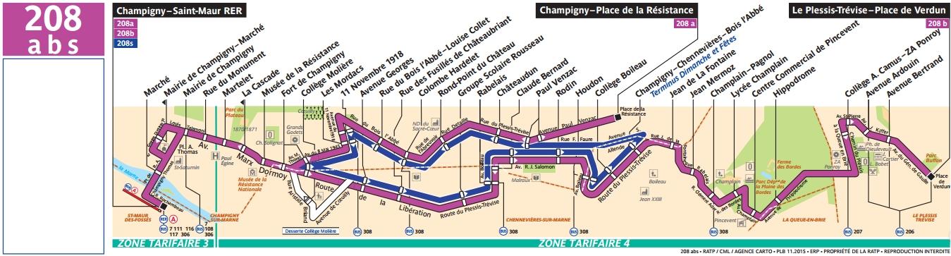Plan bus Ligne 208a