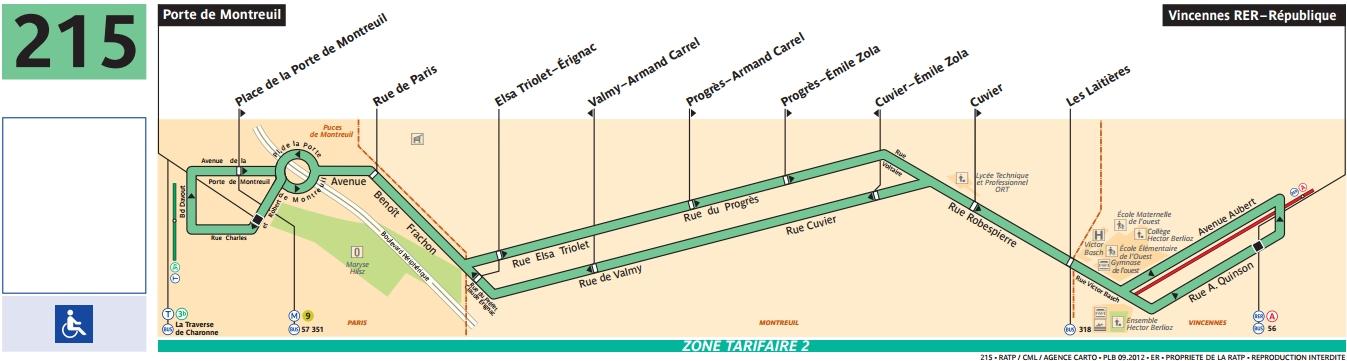 Plan bus Ligne 215
