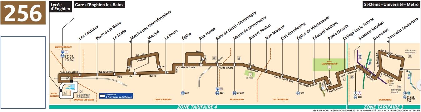 Plan bus Ligne 256