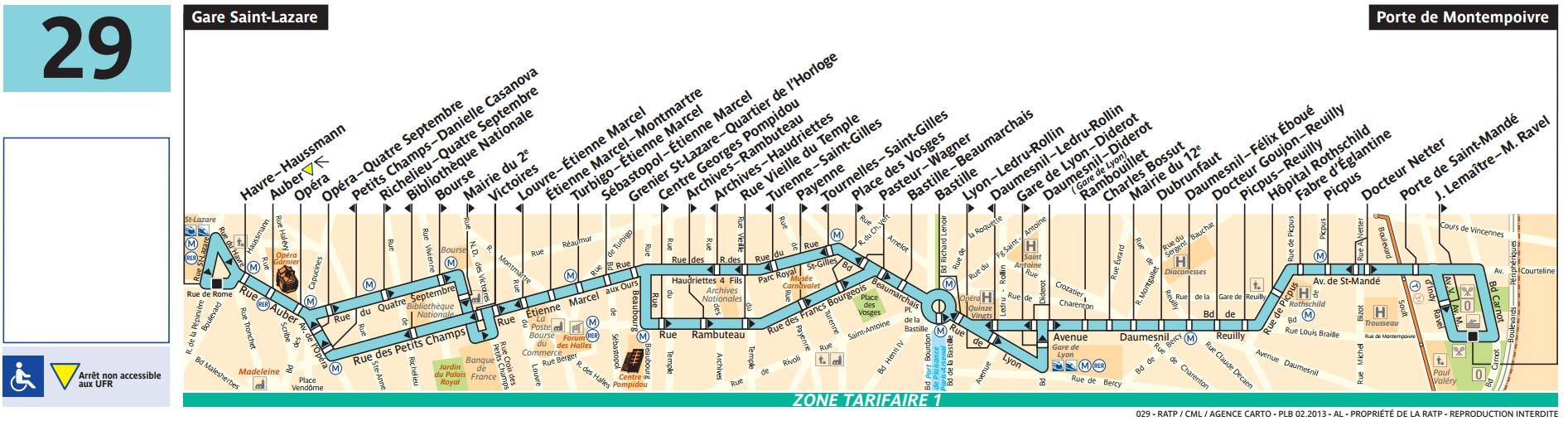 Bus 29 horaires et plan ligne 29 paris for Horaires bus ligne 29 arles salon