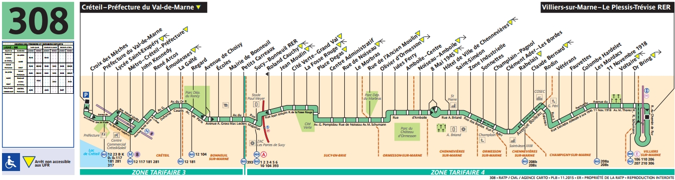 Plan bus Ligne 308