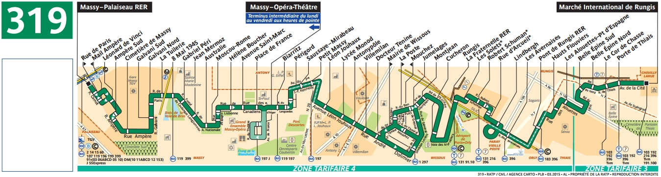 Plan bus Ligne 319