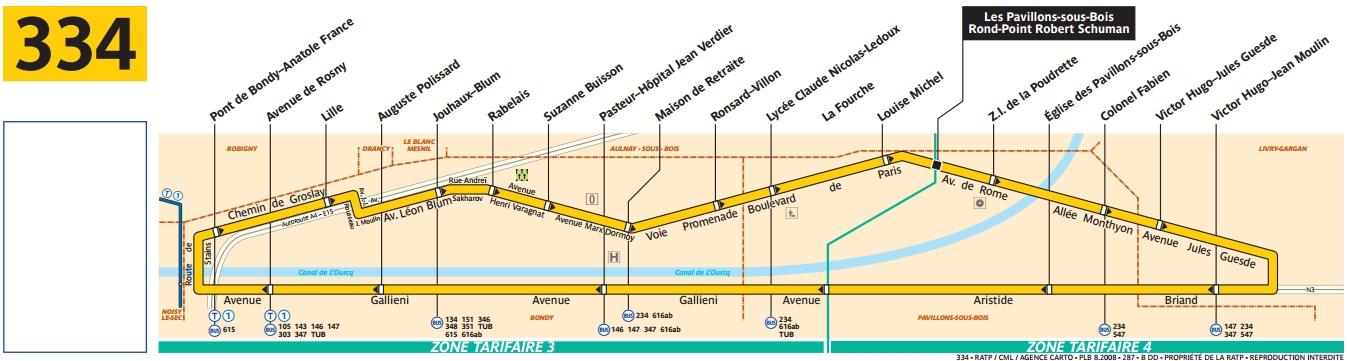 Plan bus Ligne 334