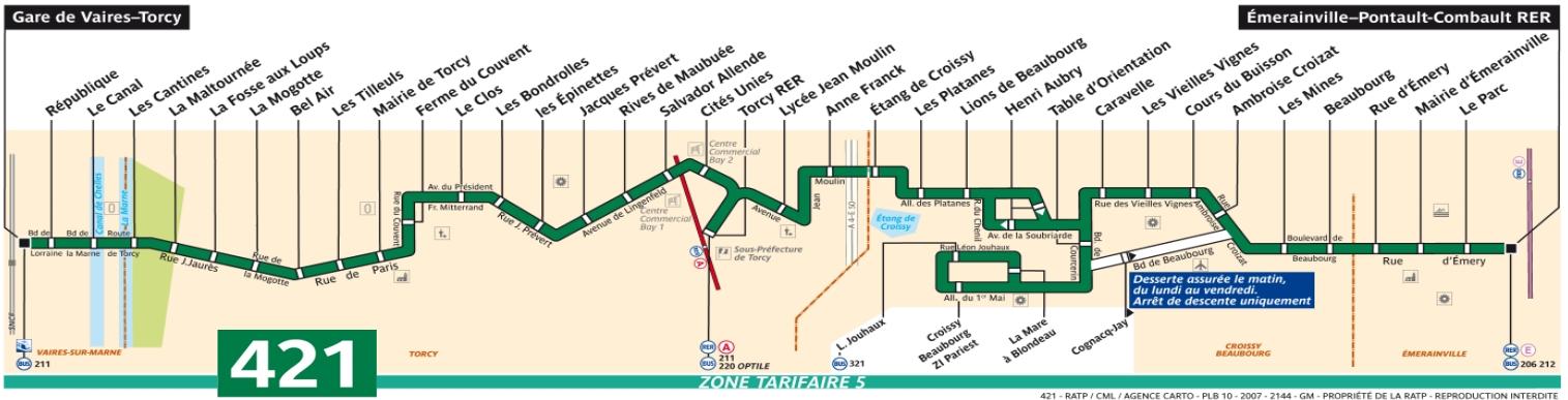 Plan bus Ligne 421