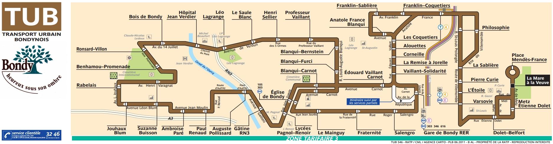 Plan bus Ligne 546