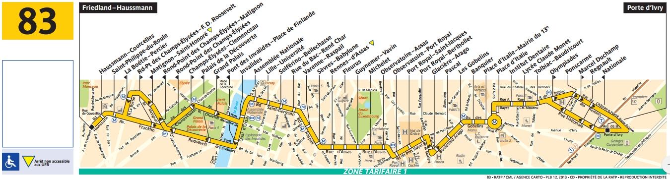 Plan bus Ligne 83
