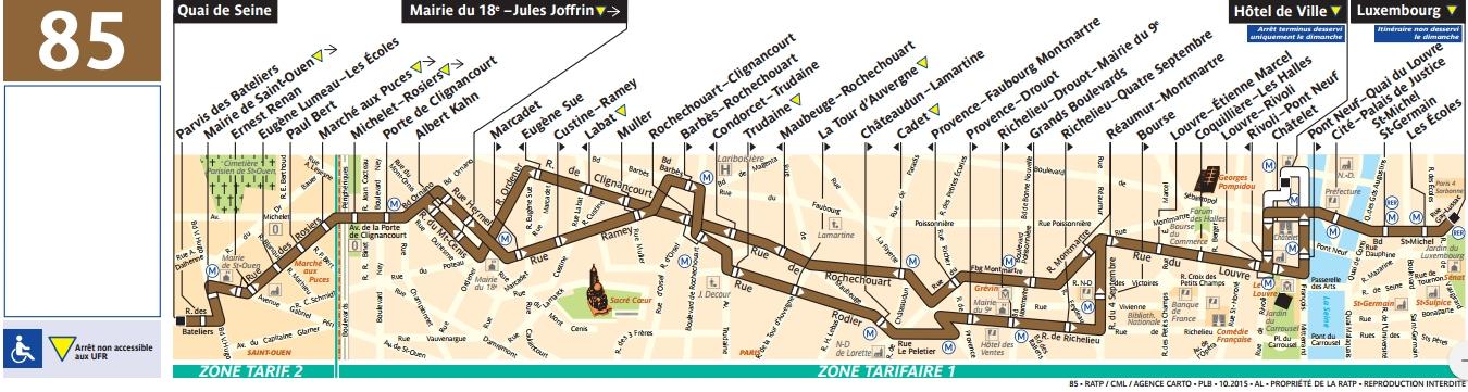 Plan bus Ligne 85