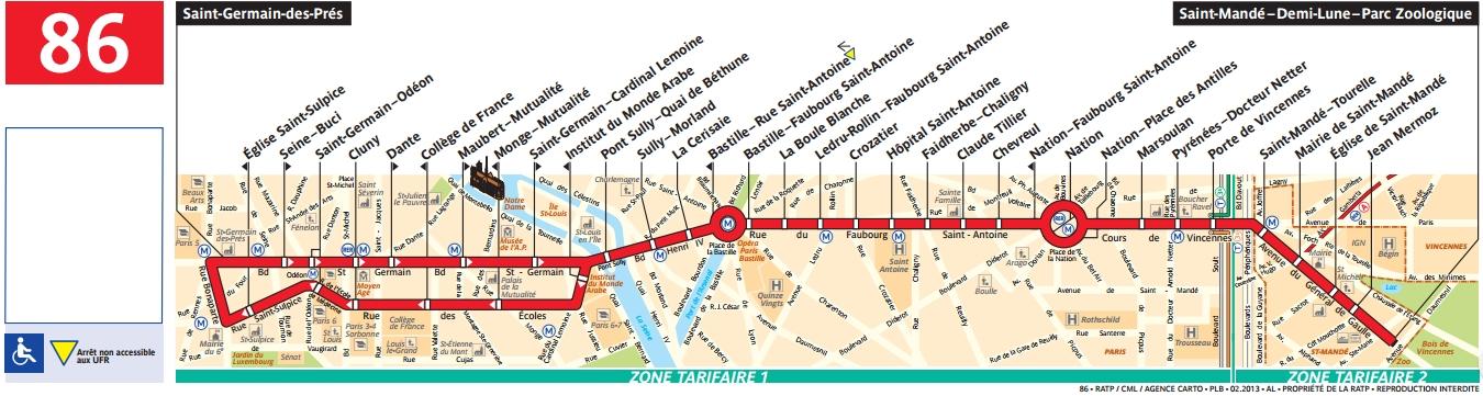 Plan bus Ligne 86