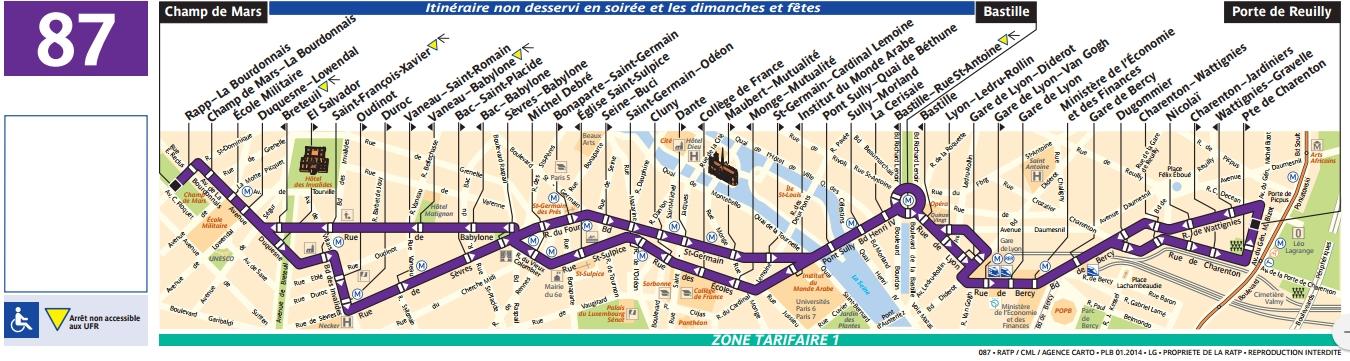 Plan bus Ligne 87