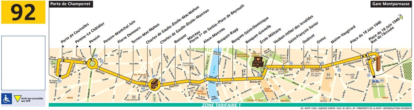 Plan bus Ligne 92