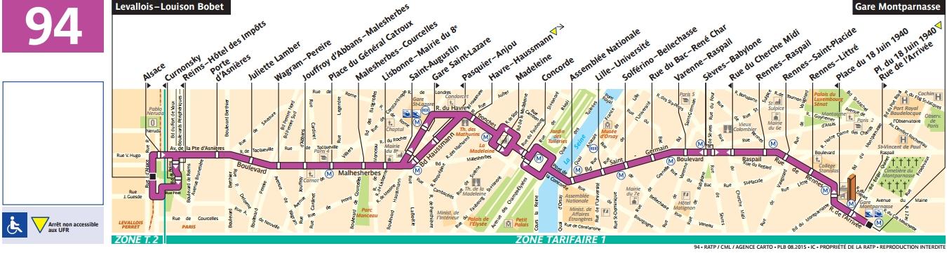 Plan bus Ligne 94