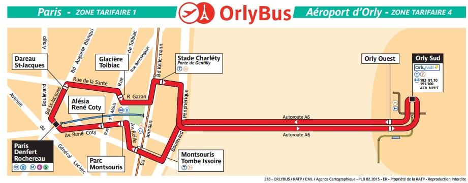 Plan Ligne Orlybus